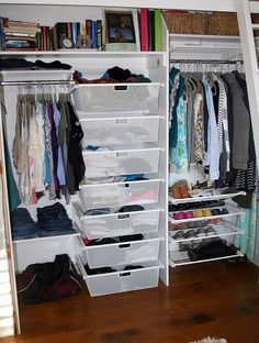closet organizing...Elfa from The Container Store...you can do it yourself OR they will install it for you. What a deal!