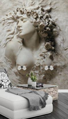 Classical Relief Beauty Wallpaper Removable Self Adhesive Wallpaper Wall MuralVintage artPeel and Stick Wallpaper Size, Self Adhesive Wallpaper, Wall Wallpaper, Living Room Art, Living Room Themes, Muebles Estilo Art Nouveau, Art Pour Salon, Carved Wood Wall Art, Mural Wall Art