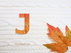 Uppercase letter J with glitter leaf and sweater knit. #fall #autumn #alphabet #typography #initial #monogram #font | maple leaf