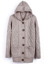 Apricot Hooded Long Sleeve Cardigan Sweater Coat $129