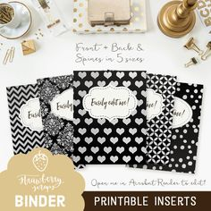 Binder covers: BLACK & SILVER 5x set Covers  by StrawberryScraps