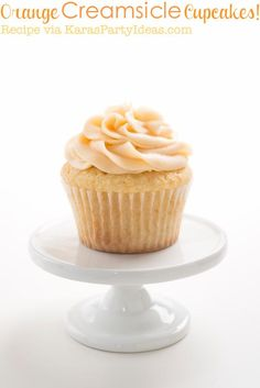 Orange Cream Creamsicle cupcake recipe that's easy and the best! Orange cream cheese frosting recipe, too! Via Kara's Party Ideas KarasPartyIdeas.com