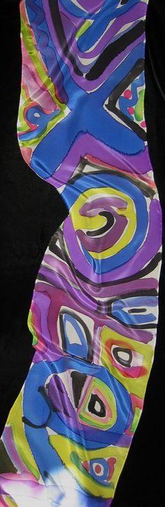 Handpainted silk scarf made by JAN GIPPLE