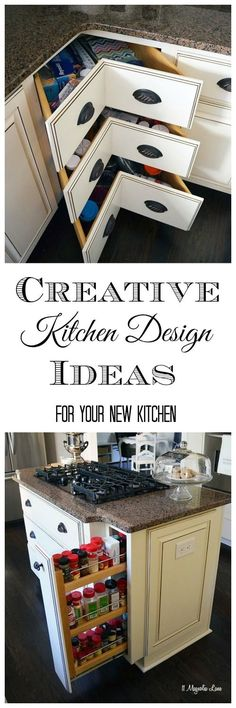 Creative Kitchen Organization and Design. Who doesn't love more storage.  I always wonder just how practical those cabinet corner drawers are!