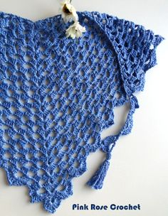 \ PINK ROSE CROCHET /: Lenço Triângulo Azul - Crochet Triangle Scarf