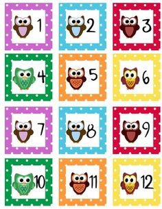 Here is an owl themed calendar set. It contains Calendar Numbers, Days of the Week, Months of the Year, and Today is Tomorrow was questions. The ca...