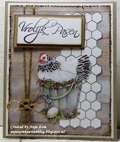 Hallo allemaal, Wil jullie nog even twee paaskaartjes laten zien een mooie met best wek wat werk en een leuke simpele die vrij snel ... Elizabeth Craft, Marianne Design, Grapevine Wreath, Grape Vines, Ladder Decor, Birthday Cards, Patches, Chicken Wire, Wreaths