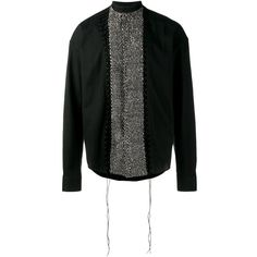 Haider Ackermann sequinned panel shirt (1,580 CAD) ❤ liked on Polyvore featuring men's fashion, men's clothing, men's shirts, men's casual shirts, black, mens extra long sleeve shirts, mens casual long sleeve shirts, mens curved hem t shirt and mens banded collar shirts