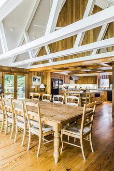 Mr. Rich describes the architecture of the main house, which the family calls the lodge, as rustic contemporary. The open-plan kitchen, dining room and great room open onto the deck overlooking the lake.