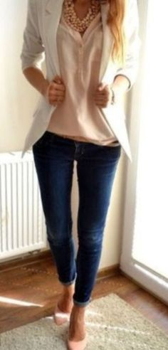 Light pink blouse and shoes