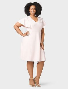Plus Size Flutter-Sleeve A-Line Dress | dressbarn