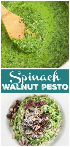 A vibrant Spinach and Walnut Pesto recipe that's full of basil, garlic, and Parmesan. This easy vegetarian spinach pesto pasta is a great weeknight dinner! Pasta Dishes, Food Dishes, Food Food, Side Dishes, Pesto Uses, Basil Walnut Pesto, Spinach Pesto Pasta, Walnut Recipes, Vegetarian Main Dishes