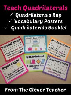 Wait what's a right angle again? These vocabulary posters help students learn the terms they need to know to classify quadrilaterals. This product also comes with a clever, rhyming quadrilaterals rap, and a note-taking booklet & answer key.
