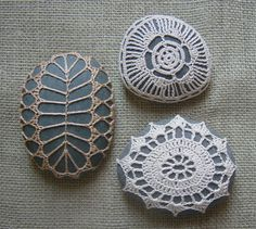 Crocheted Lace Stones...would be perfect for some of the Maine stones I have...so whimsical.
