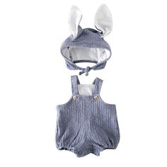 Easter Bunny Hat and Overall Set for Baby and Toddler Girls