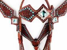 TURQUOISE BLING WESTERN HORSE Die out LEATHER HEADSTALL BRIDLE BREASTCOLLAR TACK