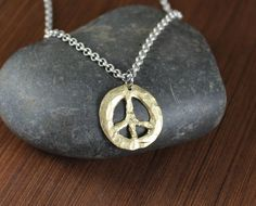 Rustic Romantic   Peace Sign  Pendant Necklace by KLFStudio