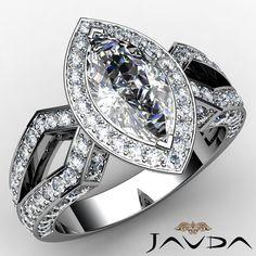 Marquise Diamond Engagement Vintage Halo Pre Set Ring EGL G VS1 Platinum 2 42 Ct | eBay