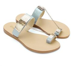 Yoins Yoins Metal Embellishment Flat Sandals ($20) ❤ liked on Polyvore featuring shoes, sandals, flats, обувь, grey, gray flat shoes, gray flats, grey flat shoes, chain sandals and beach shoes