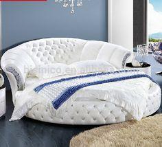 Source Modern Design Pure White Genuine Leather Round Bed on m.alibaba.com