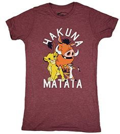 Disney Lion King Hakuna Mata Juniors Boyfriend Tshirt XS  Heather Wine ** You can get additional details at the image link.Note:It is affiliate link to Amazon.