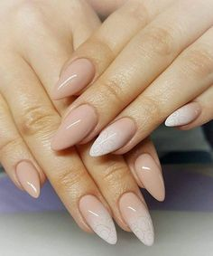 If you are not a hot fan of fearless stiletto nail designs, almond nails are here for you! the almond nail is a beautiful shape that is currently trending. Pointy Nails, Nude Nails, My Nails, Crazy Nails, Glitter Acrylics, Acrylic Nails, Pink Ombre Nails, Indigo Nails, French Nails