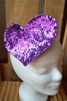 Purple Sequin, Heart Headpiece, love costume, burlesque show outfit, pinup styling, valentine gift, for her headdress, unique jewelry, big