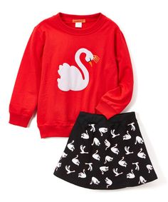 This Red & Black Swan Sweatshirt & A-Line Skirt - Toddler & Girls is perfect! #zulilyfinds