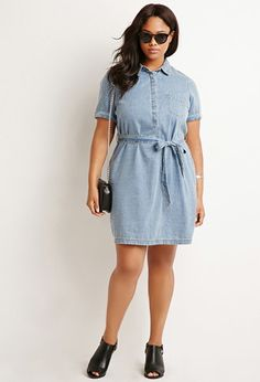 Belted Chambray Shirt Dress | Forever 21 PLUS - 2000172237
