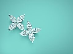 Tiffany Victoria™ earrings in platinum with diamonds, small.   Tiffany & Co.