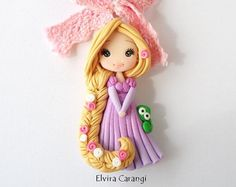 Disney princess Necklace polymer clay elsa by ElviraCarangi