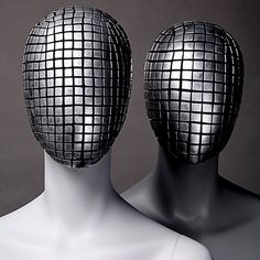 """UNIVERSAL DISPLAY, London/New York, """"Experiments in texture and form removable abstract face masks"""", pinned by Ton van der Veer"""