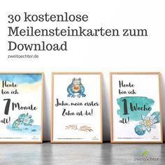 Meilensteinkarten kostenlos zum Herunterladen Baby Freebies, Baby Presents, Baby Cards, Scrapbooks, Baby Love, Creative, Frame, Kids, Babyshower