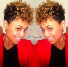 Glam natural hair updo black and blonde soft curly short hairstyles
