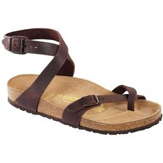 Birkenstock Women's Yara Sandal ($120) ❤ liked on Polyvore featuring shoes, sandals, habana oiled leather, mirror shoes, flexible shoes, cork footbed sandals, birkenstock footwear and light weight shoes