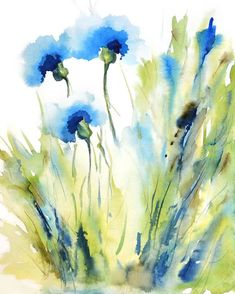Watercolor Flowers Discover Flowers for June! Spring Flower Watercolor Painting Print Bachelor Button Flower CornFlower Flower in a Field Whimsical Art Print Blue Watercolor Card, Watercolor Art Paintings, Watercolor Pictures, Watercolor Print, Watercolor Flowers, Painting Prints, Painting & Drawing, Art Prints, Drawing Flowers