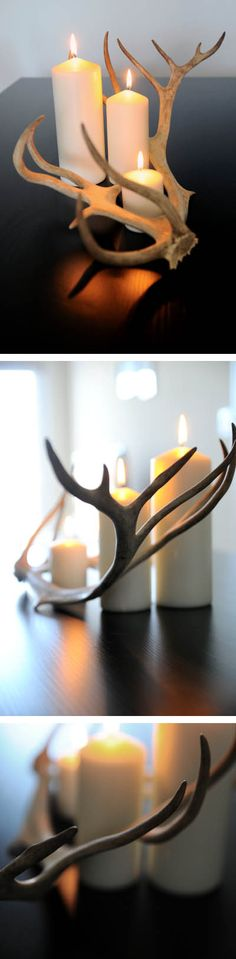 Antlers & candles - could consider getting some cute plates /dishes and painting for large candles. great for new apartment