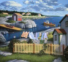 Late Afternoon-Blue Rocks ~ by Paul Hannon, Canadian Artist Seaside Art, Coastal Art, Puzzle Art, Canadian Artists, Canadian Painters, Thing 1, Blues Rock, Naive Art, Nova Scotia