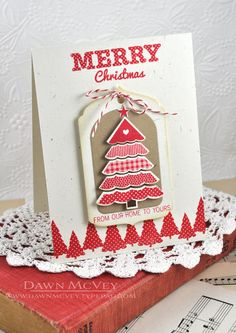 Paper: rustic cream, kraft Stamps: Polka Dot Parade #9, Background Basics: Evergreens Ink: pure poppy, vintage touch tea dye Other: Polka...