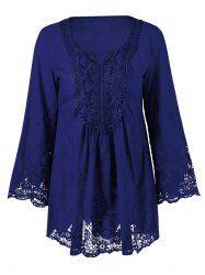 Plus Size Flare Sleeve Lace Patchwork Blouse (DEEP BLUE,2XL) | Sammydress.com Mobile