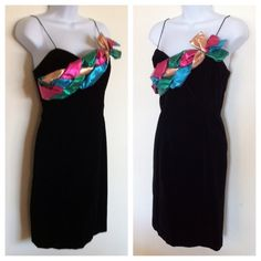 """Black Party Dress Check out this custom made sexy black party dress. Made for a special occasion worn once. Black short velvet, skinny straps, pretty colored braid detail across the front, hidden side zipper and fully lined. Measures approx 30"""" bust to hem. Dresses"""