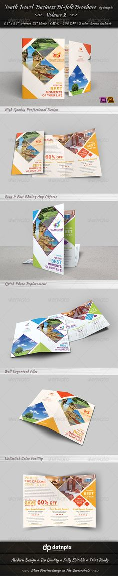 Travel | Tourism Bi-Fold Brochure | Volume 3  EPS Template • Download ➝ https://graphicriver.net/item/travel-tourism-bifold-brochure-volume-3/6875563?ref=pxcr