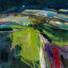 Green Sussex Landscape Oil on Board 2007 Estate of Peter Iden I really love the shock of the colours at the front of this painting, it's different & beautiful! Landscape Artwork, Abstract Landscape Painting, Abstract Painters, Seascape Paintings, Contemporary Landscape, Cool Landscapes, Contemporary Paintings, Oil Paintings, Landscape Design