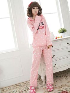 Korean Style Letter Printing Pajamas Set With Hooded pink $23.33