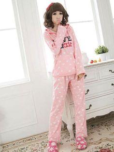 6aeae41bd0 Korean Style Letter Printing Pajamas Set With Hooded pink  23.33 Pjs