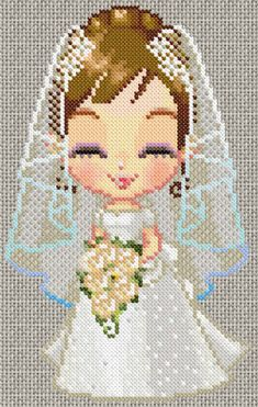 Bride cross stitch chart