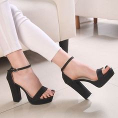 Ankle Buckle Open Toes Thick Heels Sandals