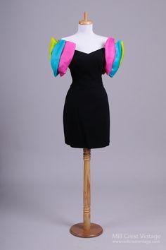 1980's Black Rainbow Vintage Cocktail Dress : Mill Crest Vintage