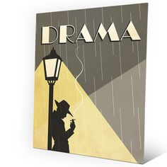"""Click Wall Art 'Drama Film' Graphic Art on Plaque Size: 30"""" H x 20"""" W x 0.04"""" D"""