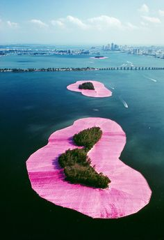 "Next From Christo: Art That Lets You Walk on Water - The New York Times ""Surrounded Islands"" (1980-83), in Miami."